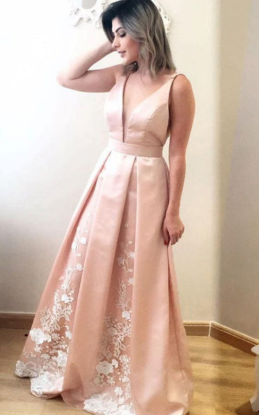2020 Cheap A-Line/Princess Satin Pearl Pink V Neck Prom Dresses 0241