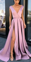 Sexy V-Neck A-Line Satin Slit Long Vintage Prom Dresses Winter Formal Dress 0244