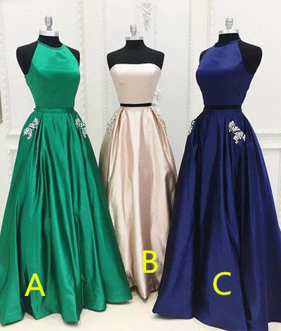 Charming Prom Dress,Satin Prom Dress,Halter Evening Dress,A-Line Prom Dress 0250
