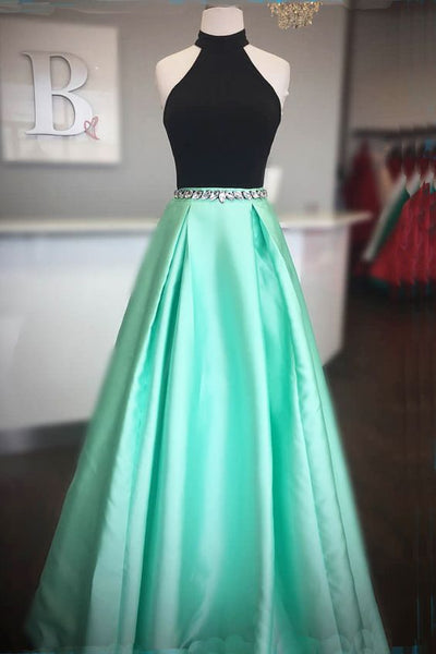 Simple black and mint satin long open back prom dress, prom dresses 0253