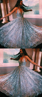 stunning silver sequined prom dresses, sexy deep v neck prom dresses, chic long prom dresses 032