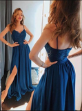 A Line Backless Lace Prom Dresses with Leg Slit,Navy Blue Lace Formal Dresses, Lace Blue Evening Dresses 033