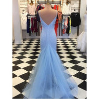 Sparkly Prom Dresses Glitter Blue Tight Evening Prom Dress 035