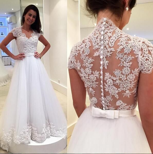 Cap Sleeve Tulle White Lace Wedding Dress, Formal Bridal Gowns H3291