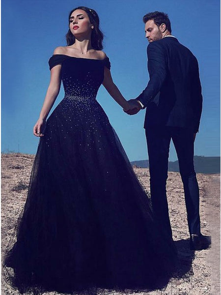 A-Line Off-the-Shoulder Black Tulle Prom Dress with Beading 3518