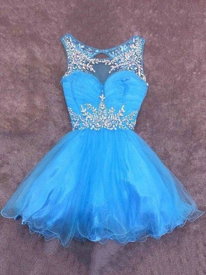 Blue Tulle Short Homecoming Dress, Pretty Prom Dress H3260