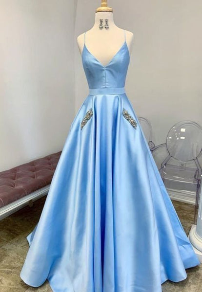Charming V neck Light Blue Pretty Prom Dress, Long Evening Dress H3251