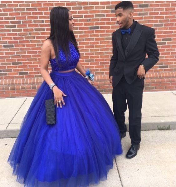Elegant Beaded Royal Blue Tulle Prom Dress, Long Evening Dress H3258