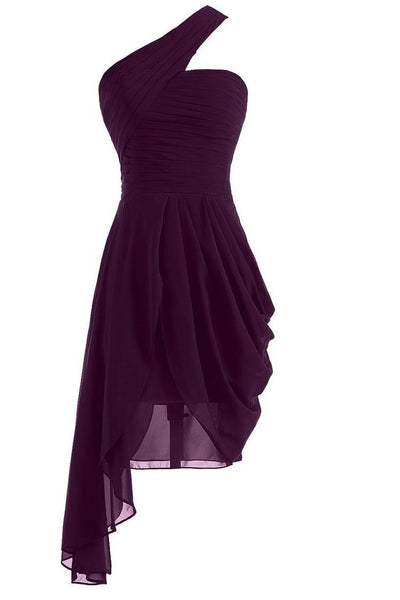 One Shoulder Dark Purple Prom Dress, Sexy Cocktail Dress homecoming dress H3299