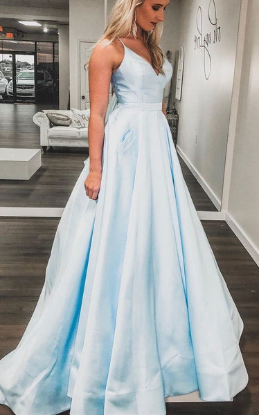 Charming V neck Light Blue Pretty Prom Dress, Formal Evening Gowns H3249