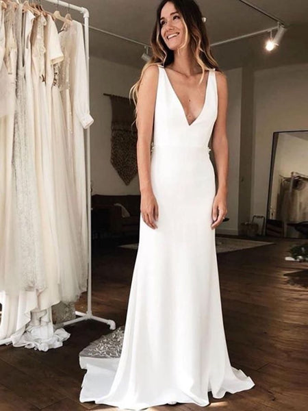 Charming V neck White Mermaid Wedding Dress, Lace Beach Wedding Gown H3245