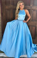 blue long prom dress,long prom dress, halter blue long prom dress graduation dress formal evening dress 040