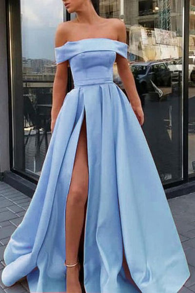 A Line Off the Shoulder Satin High Slit Prom Dresses, Long Formal Dresses 042