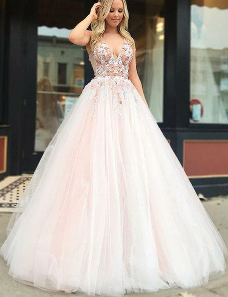 Beautiful Pink Long Prom Dresses V Neck Appliques Evening Dress 045