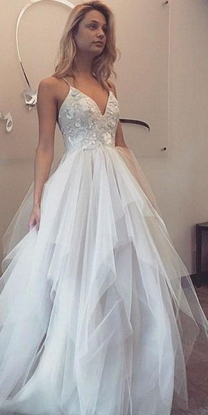 Long Prom Dresses,Prom Dresses,Evening Dress, White Prom Dresses, 054