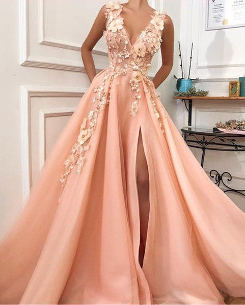 Long Prom Dresses,Prom Dresses,Evening Dress, Elegant Lace Flowers V-neck Long Tulle Split 055