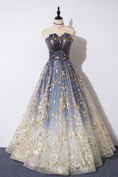 Blue Floral Print Tulle Strapless Long A Line Prom Dress, Graduation Dress 059