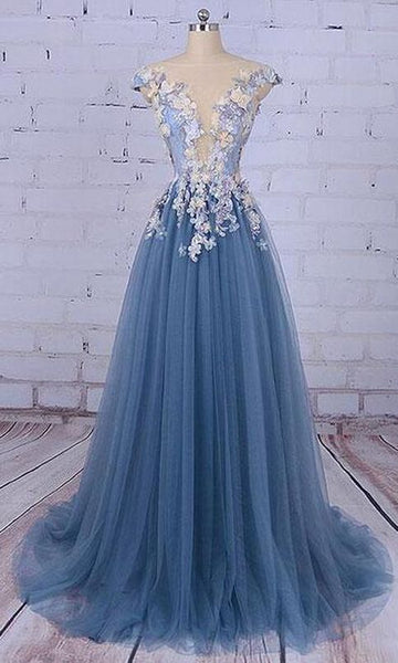Tulle Prom Dress,Cheap Prom Dress,Unique Prom Dresses,Princess Prom Dress,Appliqued Prom Dress 063