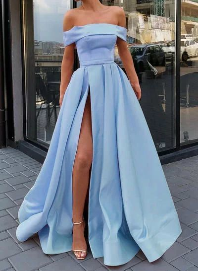 Sweep Train A-Line/Princess Gorgeous Off-the-Shoulder Satin Prom Dresses 070