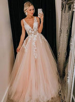 Pink Tulle V Neck Long Senior Prom Dress, Formal Dress With Applique 074