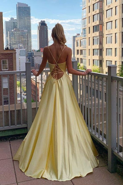 Spaghetti Straps Satin Prom Dresses,Halter Criss Back Party Dresses,Yellow Prom Dresses 075