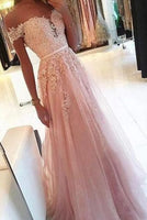 OFF THE SHOULDER A LINE PINK LACE APPLIQUES LONG FORMAL PROM DRESSES EVENING GRAD DRESS 078