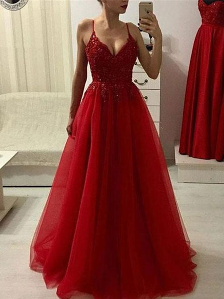 2020 Red Beaded Tulle Spaghetti V Neck Sleeveless Prom Dresses 080