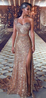 Gorgeous Mermaid Sequins Prom Gowns One Shoulder Evening Dress With Slit 089