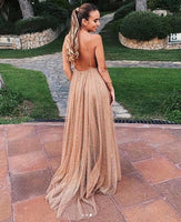 Sexy A-line Spaghetti Straps Deep V-neck Sexy Backless Sequins Prom Party Dresses on sale 0174