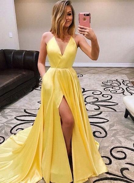 Simple Halter Yellow Long Prom Dresses Evening Dresses Split Front 091