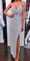 Sparkly Mermaid Sexy Backless Slit Sequin Prom Dress 092