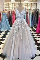 A-Line V-Neck Champagne Tulle Prom Dress Modest Prom Dresses Long Evening Dresses 011