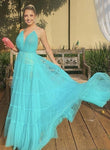 Simple v neck tulle prom dress evening dress KS1468