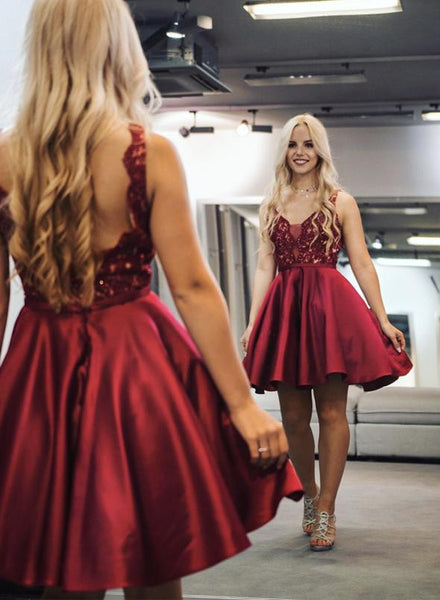 Burgundy v neck lace short prom dress party dress KS1473