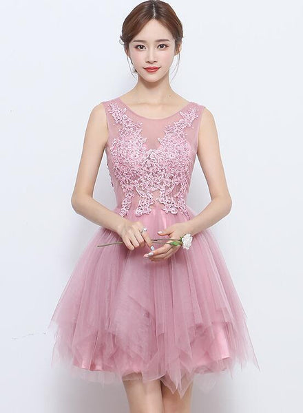 Lovely Mini Short Tulle with Lace Beaded Homecoming Dress, Pink Prom Dress KS5995