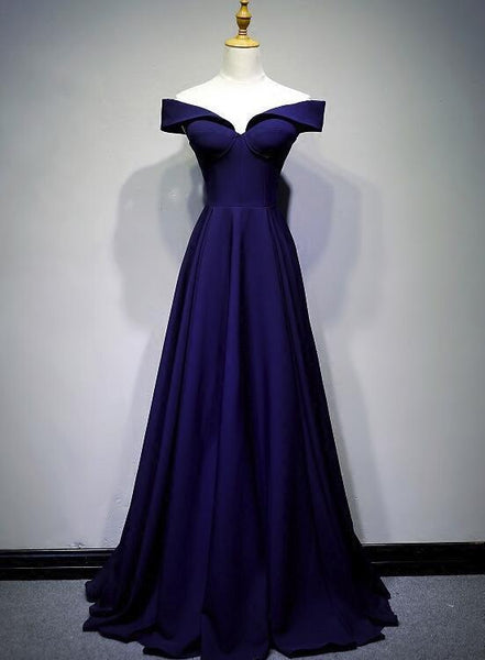 Beautiful Navy Blue A-line Spandex Long Prom Dress, Off Shoulder Bridesmaid Dress KS6015