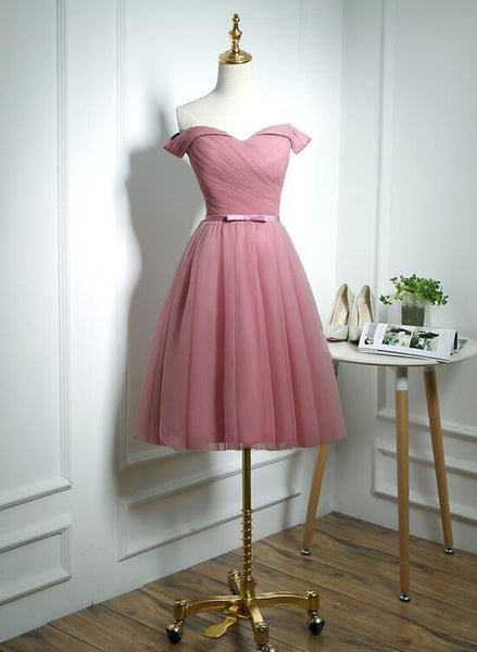 Lovely Pink Off Shoulder Knee Length Party Dress, Pink Prom Dress KS5996