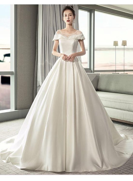 Pretty Ivory Satin Cap Sleeves with Lace Ball Gown Wedding Dress, Satin Bridal Gown Wedding Party Dress KS6035