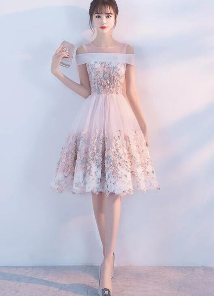 Lovely Light Pink Off the Shoulder Knee Length Party Dress, Lace Pink Homecoming Dress KS6016