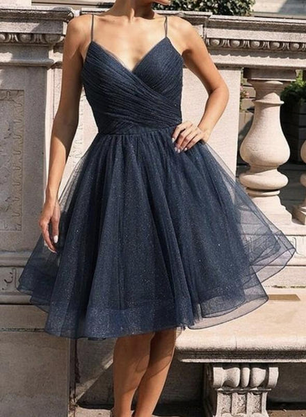 Blue tulle short prom dress homecoming dress KS1488
