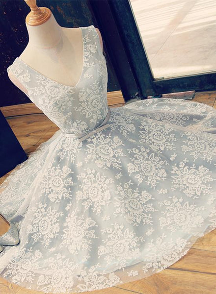 Charming Sliver-Grey Lace Homecoming Dress, Short Prom Dress KS5863