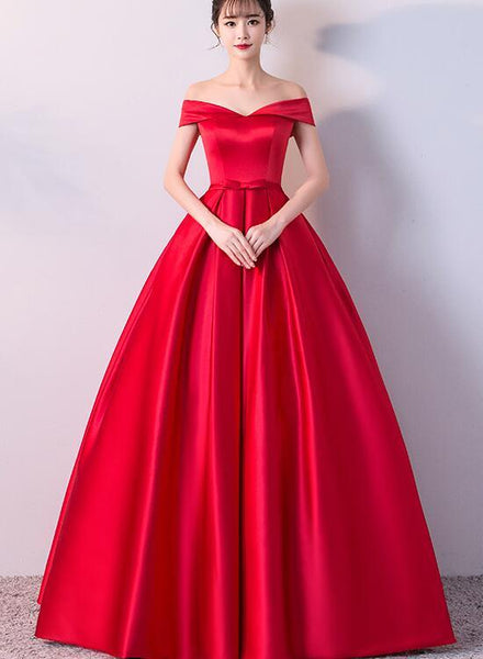 Charming Red Satin Sweetheart Long Party Dress, Red Prom Dress KS5864