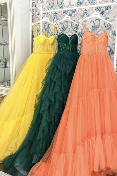 Yellow Long Tulle Prom Dresses Spaghetti Straps Sweetheart Court Train Formal Evening Party Dress KS6532