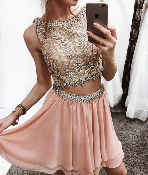 Unique pink two pieces chiffon short prom dress pink homecoming dress KS5391
