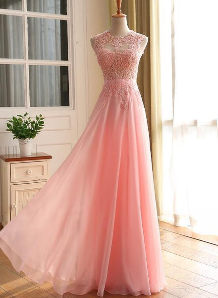 Pink Chiffon Long Party Dress, Pink Prom Dress with Lace Applique KS6155