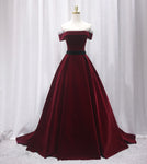 Burgundy velvet long prom gown formal dress KS7003