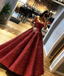 Burgundy sequins long prom gown formal gown KS6996