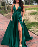 New Girls Graduation Halter Green Slit Long Prom Dresses 015