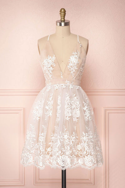 Champagne v neck tulle lace short prom dress champagne tulle homecoming dress P01283