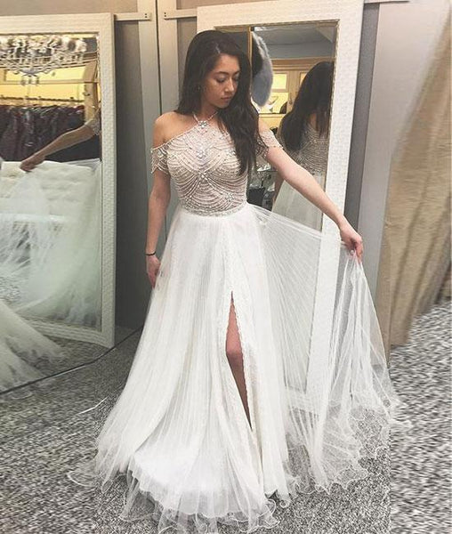 A-Line halter cold shoulder white prom dress with beading, white evening dress KS4774